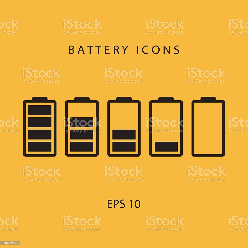 Set of black battery icons. vector art illustration