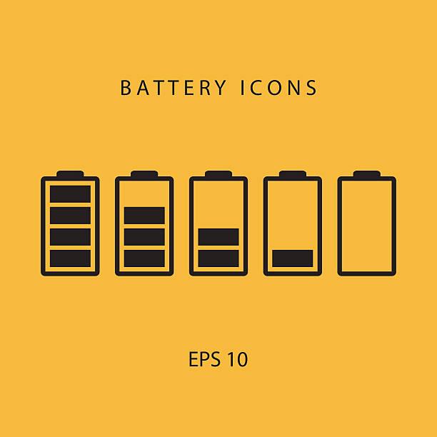 Satz von Schwarz Symbole der Batterie. – Vektorgrafik