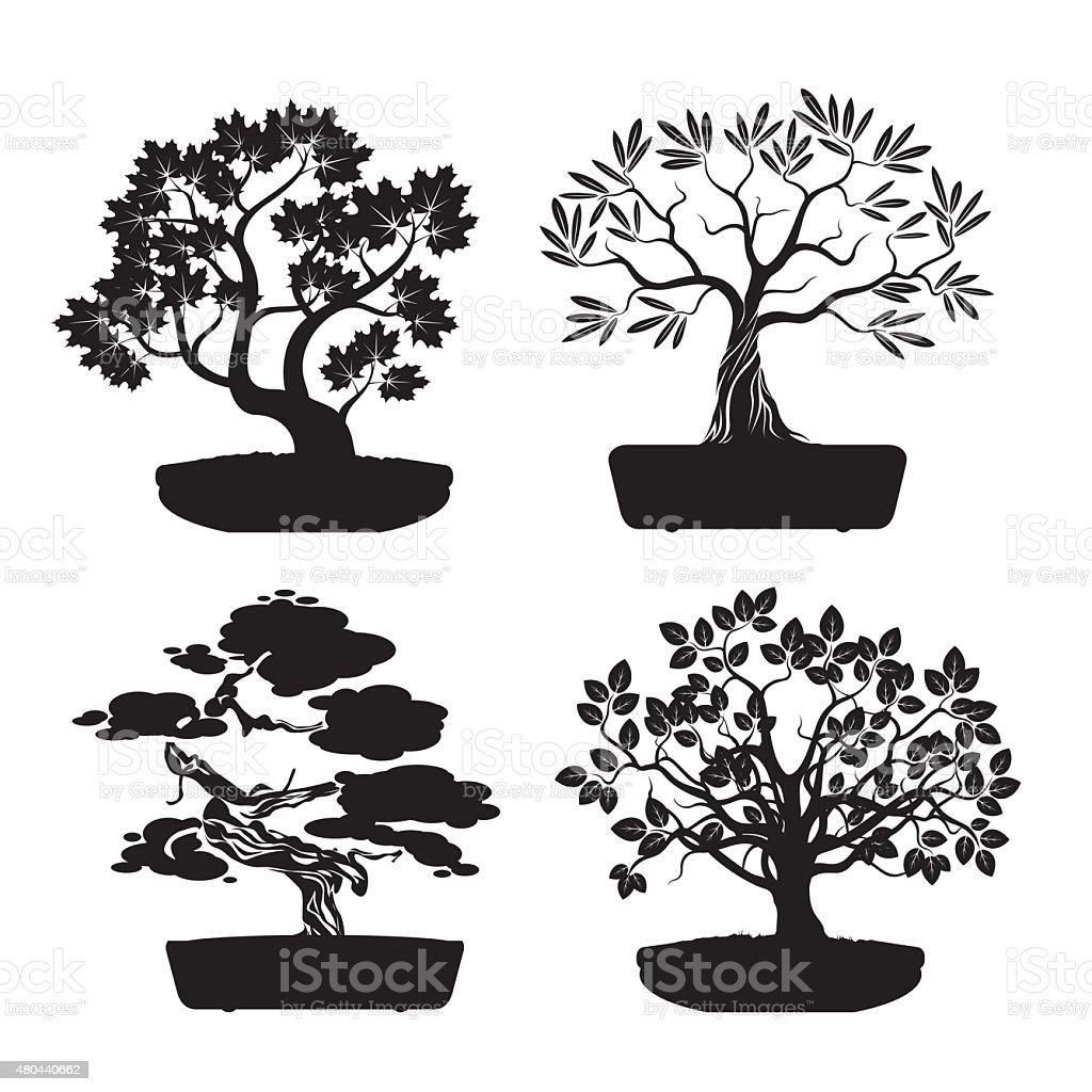 Set of Black Bonsai Trees. vector art illustration