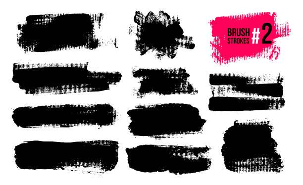 zestaw czarnych pociągnięć pędzla, farby, atramentu, grunge, pędzle, linie. brudne elementy artystyczne, pudełka, ramki. rysunek odręczny. ilustracja wektorowa. izolowane na białym tle. - brudny stock illustrations