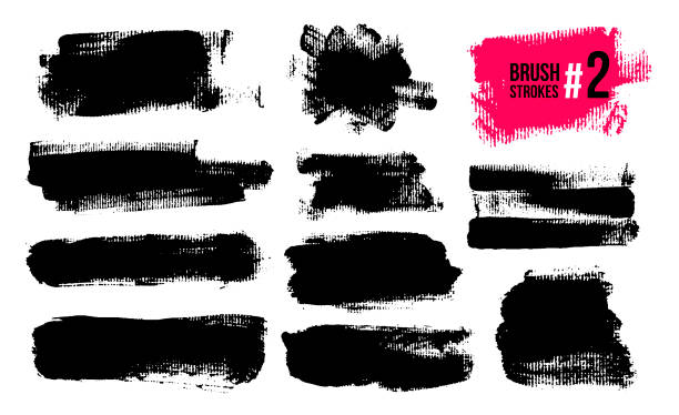 set of black brush strokes, paint, ink, grunge, brushes, lines. dirty artistic elements, boxes, frames. freehand drawing. vector illustration. isolated on white background. - grunge background stock illustrations