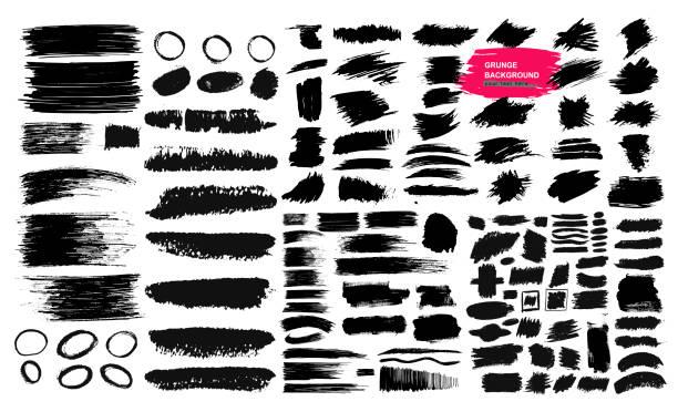 黒のブラシストローク、ペイント、インク、グランジ、ブラシ、ラインのセット。汚い芸術的な要素、ボックス、フレーム。フリーハンド描画。ベクターイラスト。白 background_q に分離 - ブラシ点のイラスト素材/クリップアート素材/マンガ素材/アイコン素材