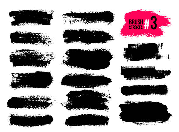 set of black brush strokes, paint, ink, grunge, brushes, lines. dirty artistic elements, boxes, frames. freehand drawing. vector illustration. isolated on white background. - uderzać stock illustrations
