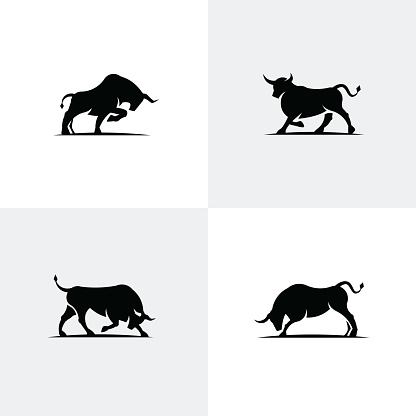 Set of black bull icons