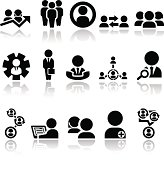 Set of black business-related icons