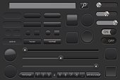 Set of black buttons. Collection of user interface elements