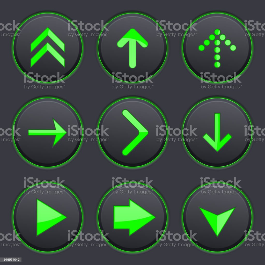 Set Of Black Buttons Round Plastic Matted Buttons Stock Vector Art ...