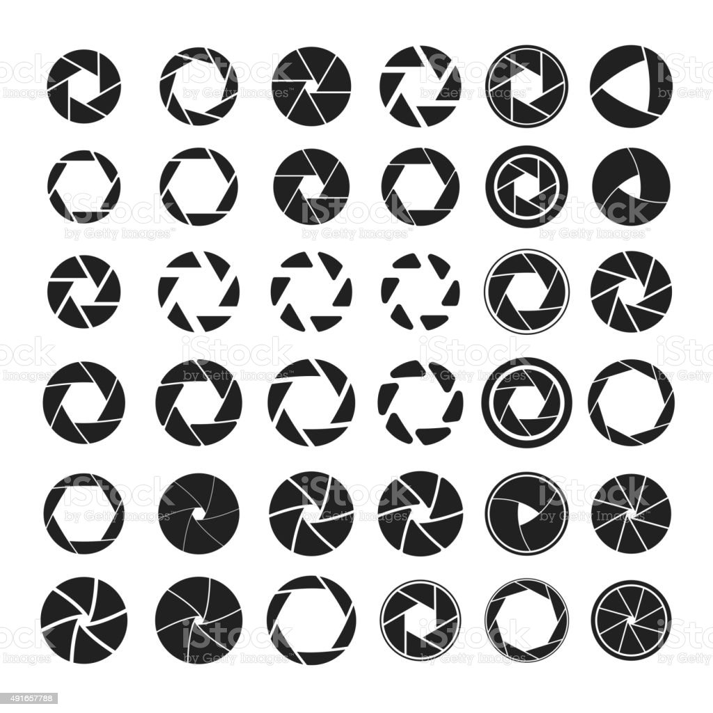 Set of black camera shutter icons on white background