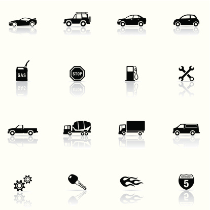 A set of black car and mechanic icons on a cream background