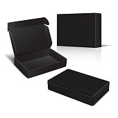 Set of Black Cardboard Box. Vector 3d Package for Software, electronic device and other products for your design