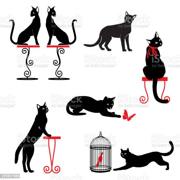 Set of black cats with green eyes and red accessories in different vector id870927638?b=1&k=6&m=870927638&s=612x612&h=wwkj5 6w8u48uz jqknqqpfvw78p0 ng9wvo0uud oi=
