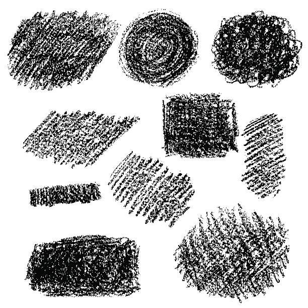 bildbanksillustrationer, clip art samt tecknat material och ikoner med set of black chalk texture. - skuggig