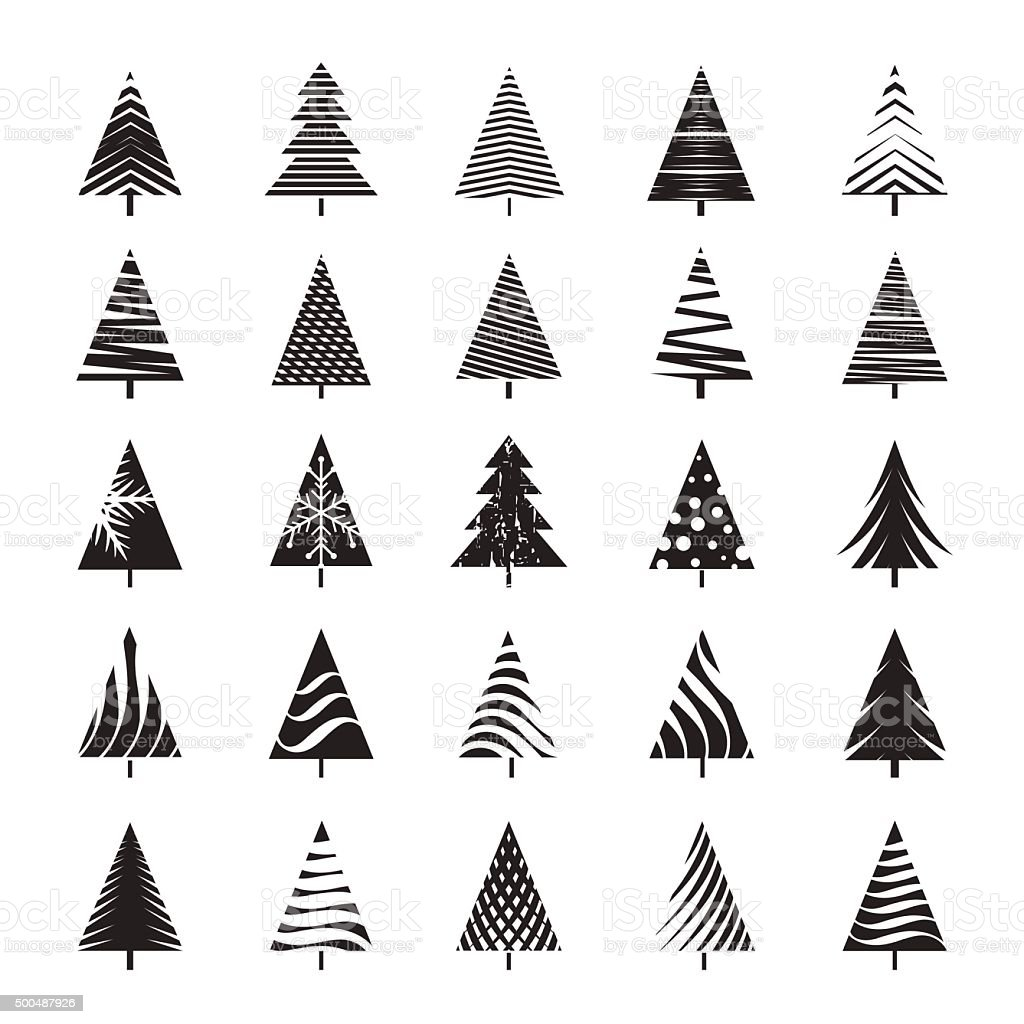 set of black christmas tree vector illustration and icons royalty free set of black