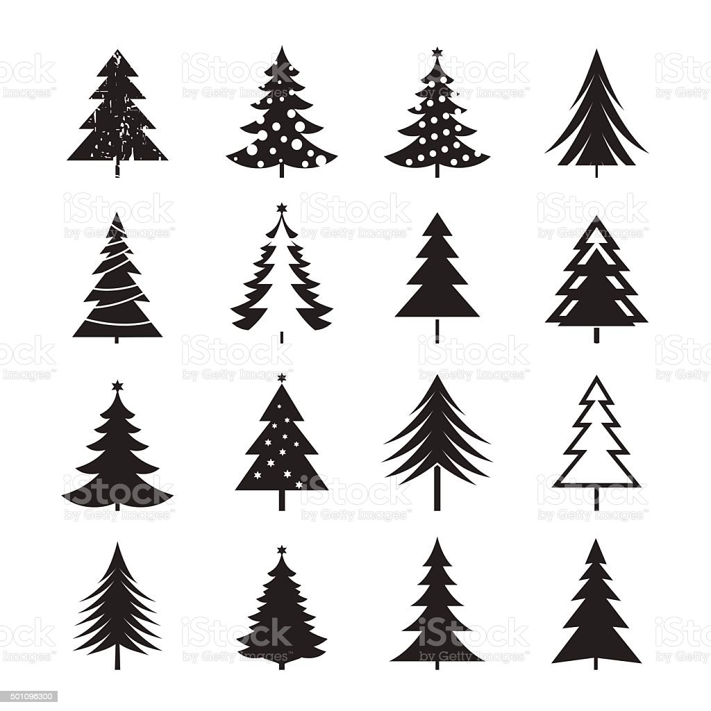 Christmas Tree Vector.Set Of Black Christmas Tree Vector Illustrations Stock Illustration Download Image Now