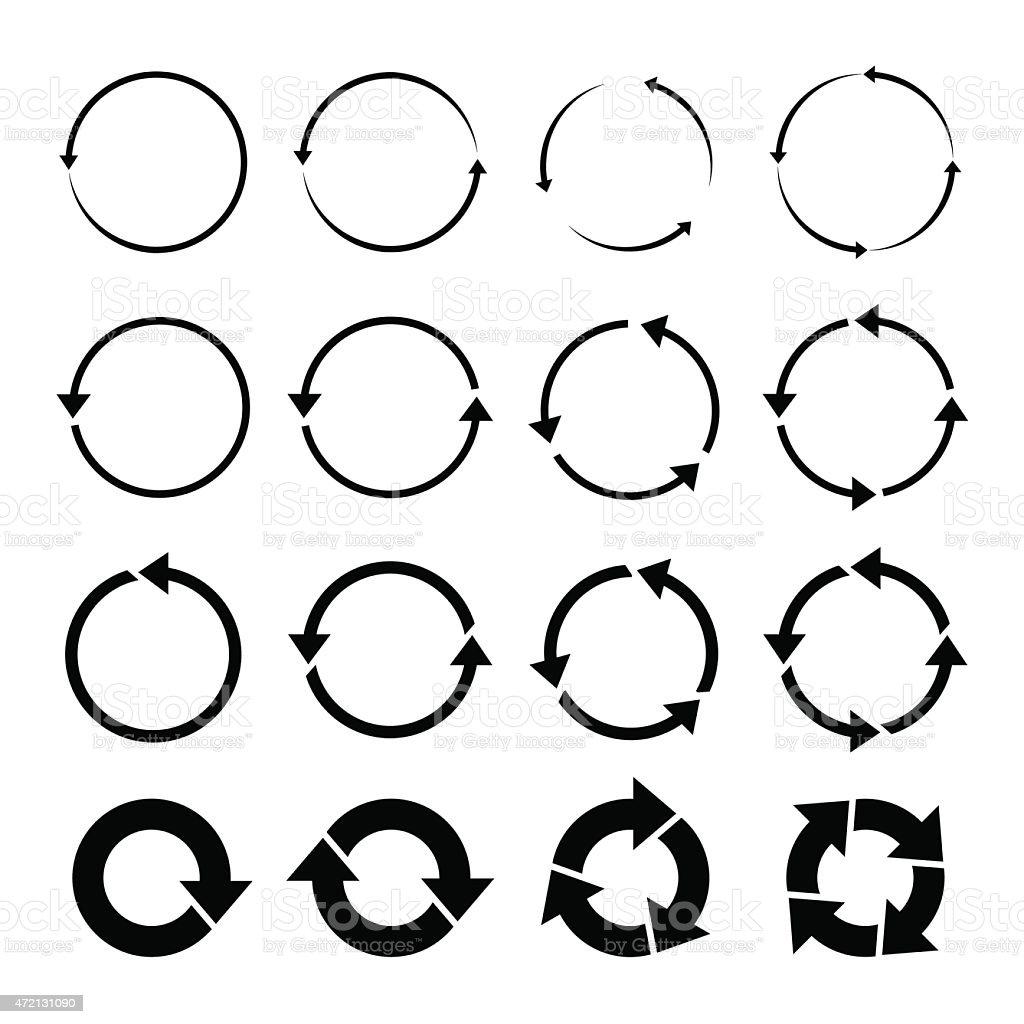 set of black circle vector arrows vector art illustration