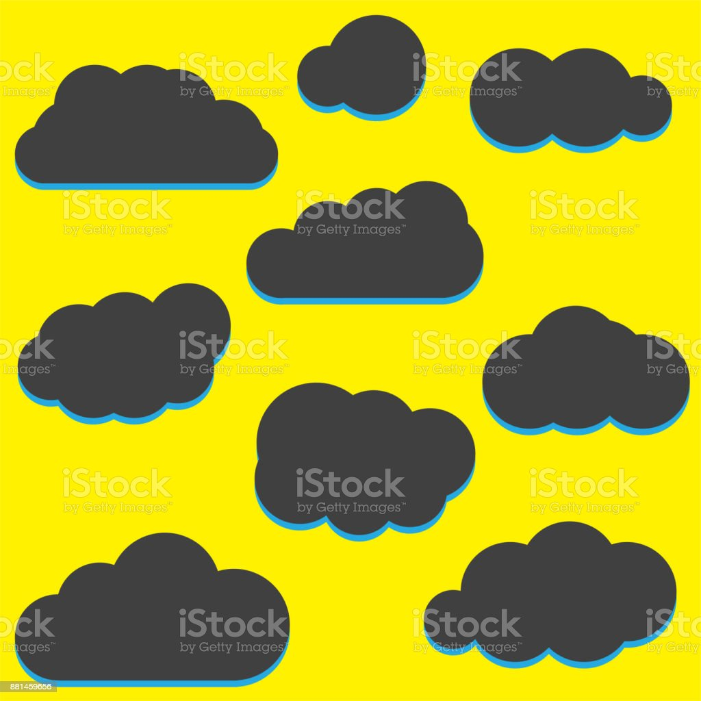 A set of black cloud icons in a trendy flat theme isolated from a yellow background. Cloud Symbols for your website design  UI Vector IllustrationA set of black cloud icons in a trendy flat theme isolated from a yellow background. Cloud Symbols for yo