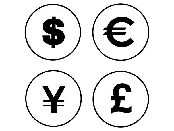 검은 동전 세트 - 영국 화폐 단위 stock illustrations