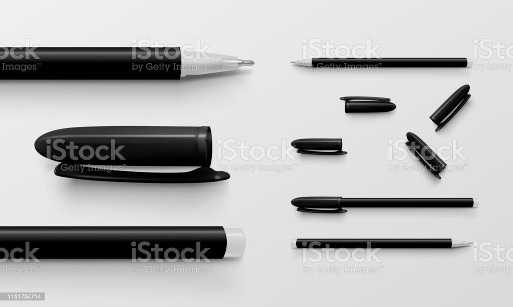 Set Of Black Colored Office Pens And Caps Stock Illustration
