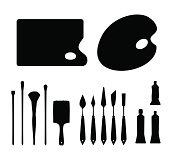 Set of black contour artistic instruments silhouettes