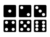 Set of Black Dice icon. Six dice vector illustration. Eps 10