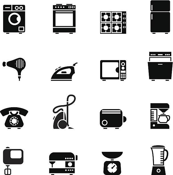 Satz von Schwarz Symbole von Haushaltsgeräten – Vektorgrafik