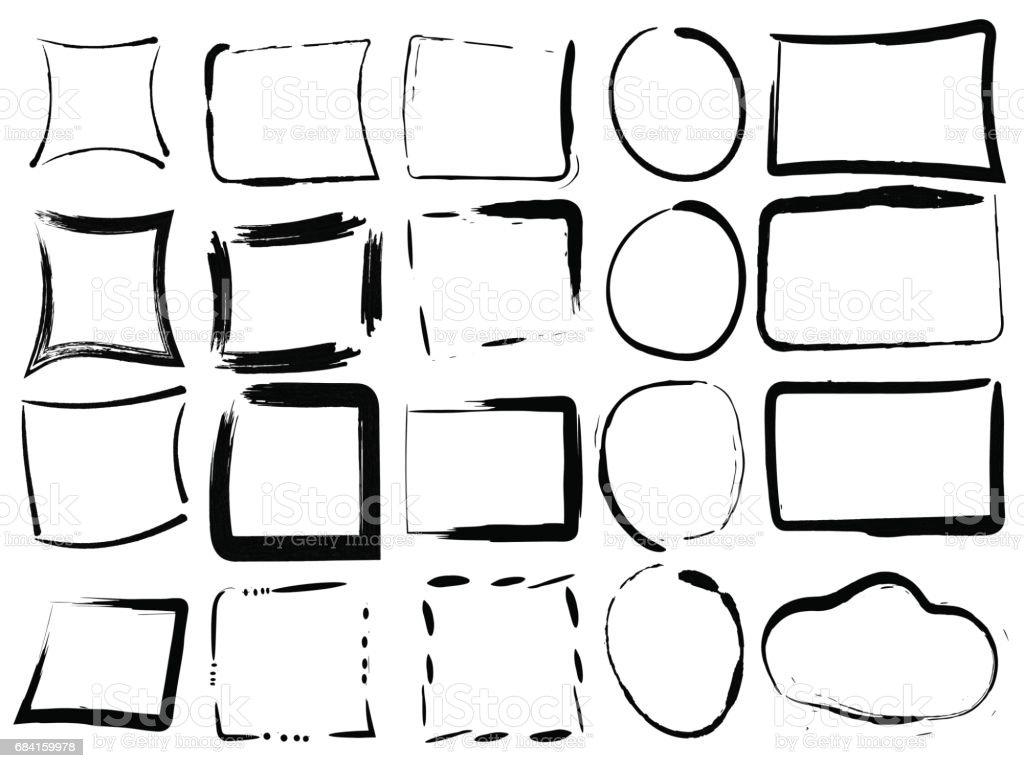 Set zwart leeg grunge frames. Vectorillustratie van de penseel inkt ontwerpelementen op witte achtergrond. Verf rectangule en ronde vormen royalty free set zwart leeg grunge frames vectorillustratie van de penseel inkt ontwerpelementen op witte achtergrond verf rectangule en ronde vormen stockvectorkunst en meer beelden van aan de kant van