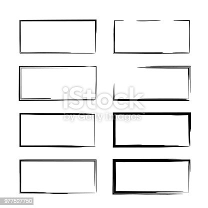 Set of  grunge frames. Geometric empty  borders. Vector illustration.