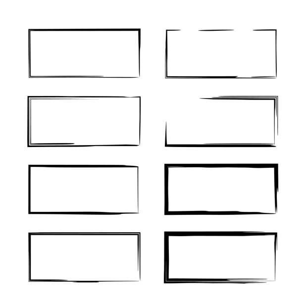 一套黑色 empy 的框架。 向量插圖。 - 長方形 幅插畫檔、美工圖案、卡通及圖標