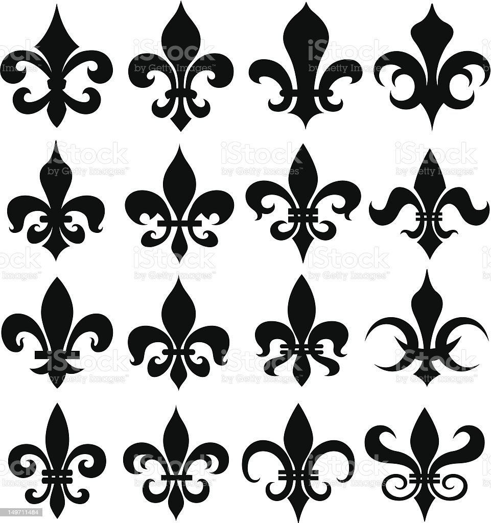 Set of black fleur de lis design on white background royalty-free set of black fleur de lis design on white background stock vector art & more images of authority