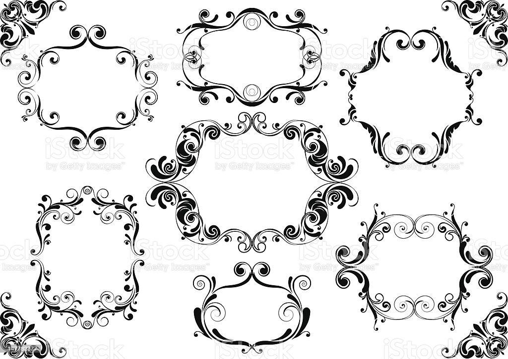 Set of black floral frame royalty-free stock vector art