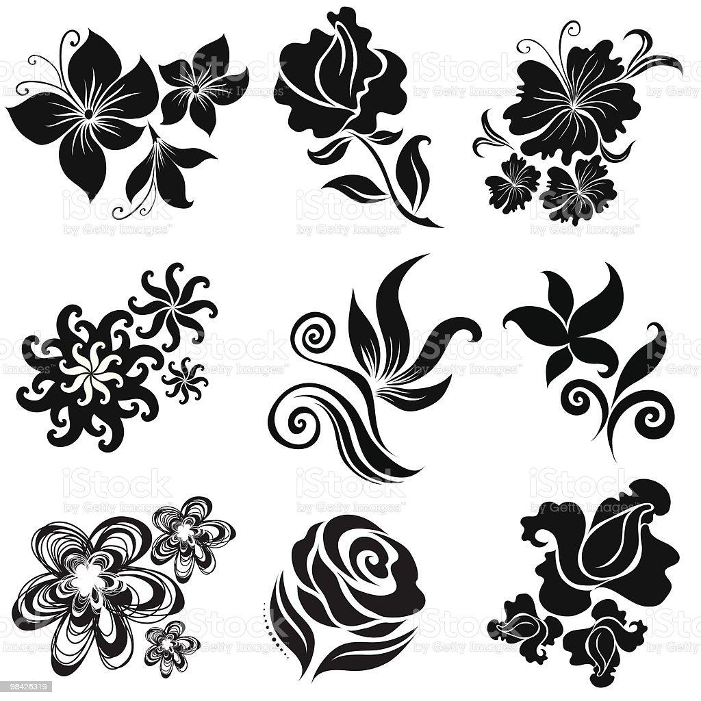 Set di elementi di design floreale nero set di elementi di design floreale nero - immagini vettoriali stock e altre immagini di astratto royalty-free