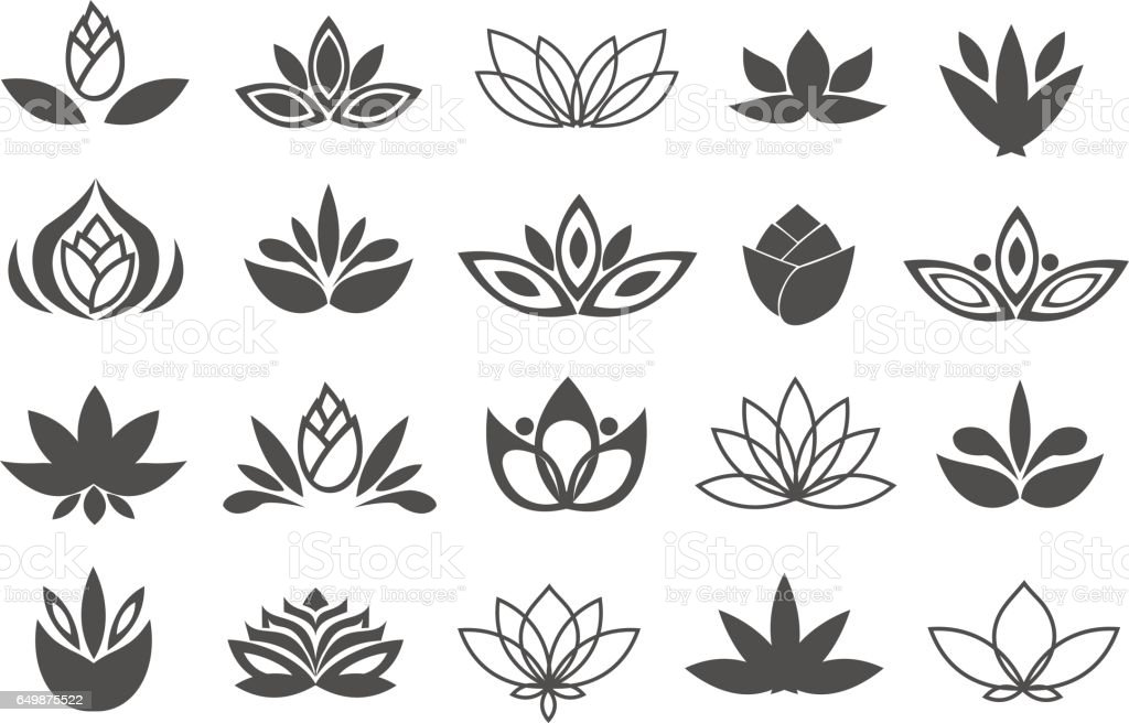 Set of black flowers design elements. Plant, blossom and sprout growing icons flat line design vector. vector art illustration