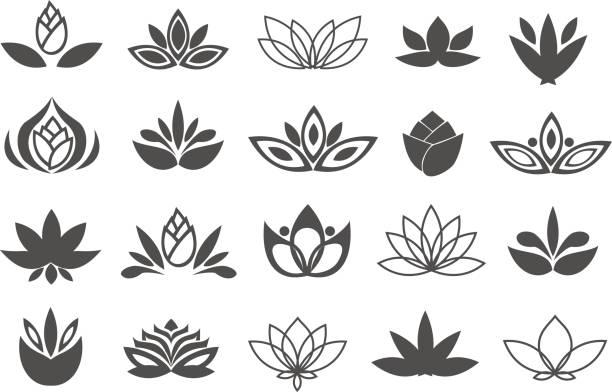 ilustrações, clipart, desenhos animados e ícones de conjunto de elementos de design de flores negras. plantar, florescer e germinar crescente ícones linha plana projeto vector. - lotus
