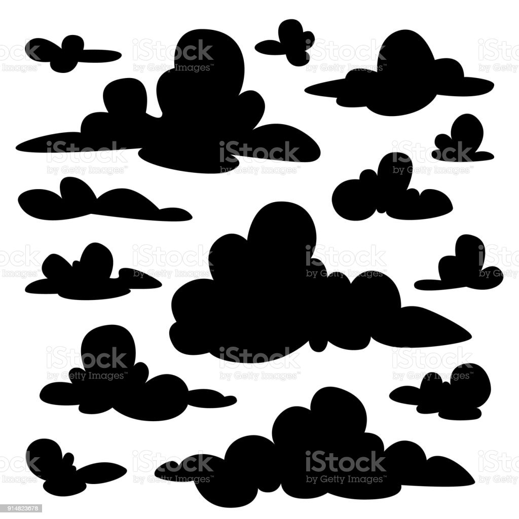 Set of black fluffy clouds silhouettes on white background. Illustration in flat cartoon style. Elements for your design, artwork, scene, website. Different nature cloudscape weather symbols. Vector. vector art illustration