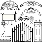 Set of black forged metal gates and other elements