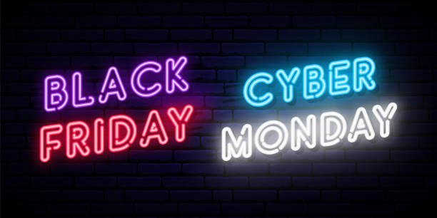 Set of Black Friday and Cyber Monday neon designs. Concept vector template for promo and discount advertising. Web and social media banner. Set of Black Friday and Cyber Monday neon designs. Concept vector template for promo and discount advertising. Web and social media banner. black friday sale neon stock illustrations