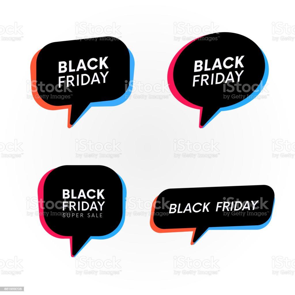 Set of Black friday retro banners. Trendy bubbles. vector art illustration
