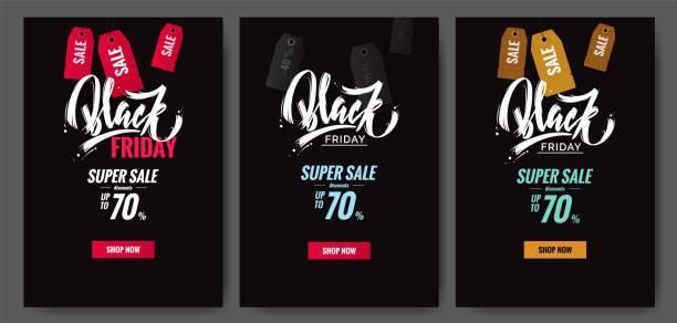 Set of Black friday sale poster. Set of Black friday sale poster. Vector illustration. black friday stock illustrations