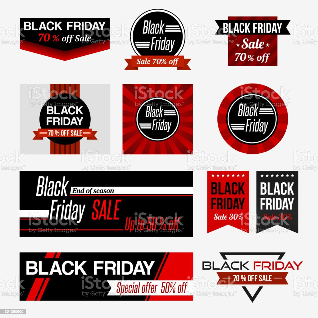 Set of black friday sale. royalty-free set of black friday sale stock vector art & more images of advertisement
