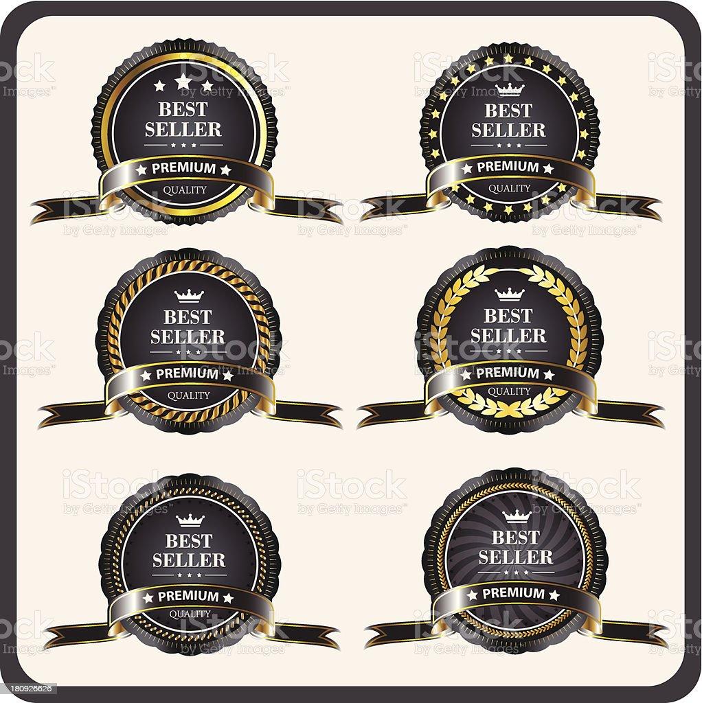 52f53f7cbd1 Set Of Black Goldframed Labels In Vector Stock Vector Art   More ...