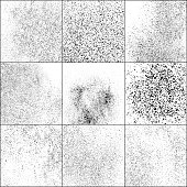 Set of Black Grainy Texture Isolated on White Background.