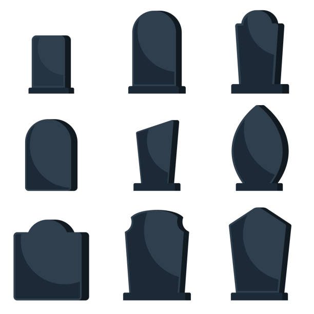 set of black gravestones on graves for a cemetery. - tombstone stock illustrations