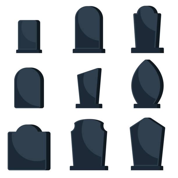 stockillustraties, clipart, cartoons en iconen met set van zwarte grafstenen op graven voor een begraafplaats. - graf