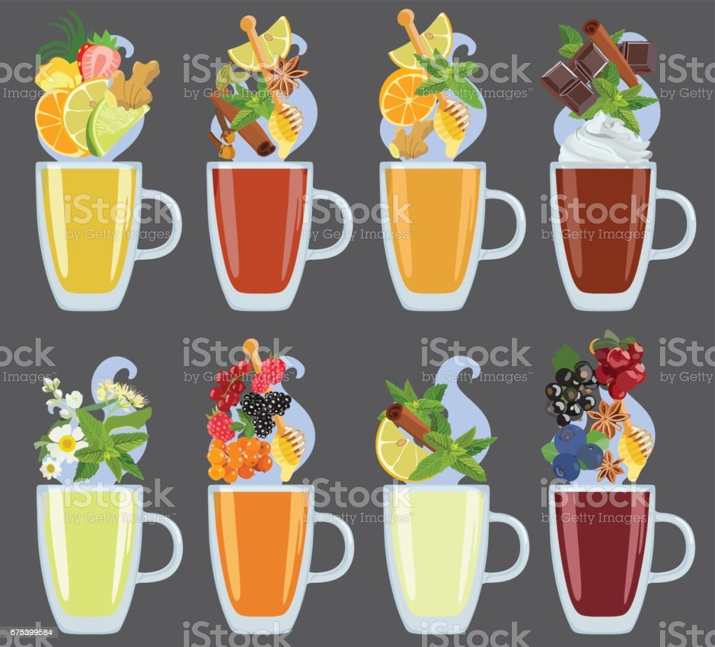 Set of black, green and herbal tea with additives. Vector. vector art illustration