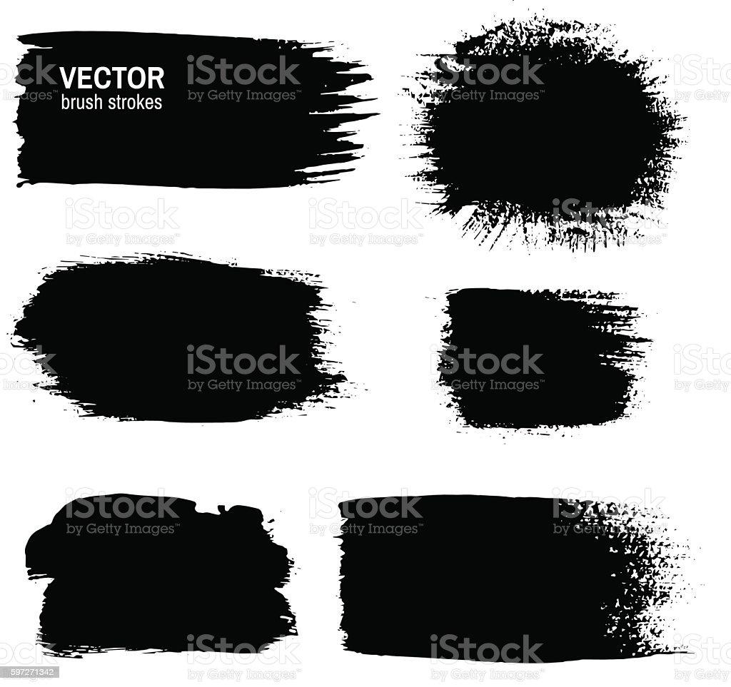 Set of black grunge paint, ink brush strokes. Lizenzfreies set of black grunge paint ink brush strokes stock vektor art und mehr bilder von abstrakt