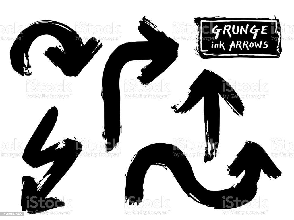 Ensemble de vecteur grungy noir main peinture encre brosse flèche. Grunge trait courbe ligne sur fond blanc. Trame de calligraphie chinoise style graffiti - Illustration vectorielle