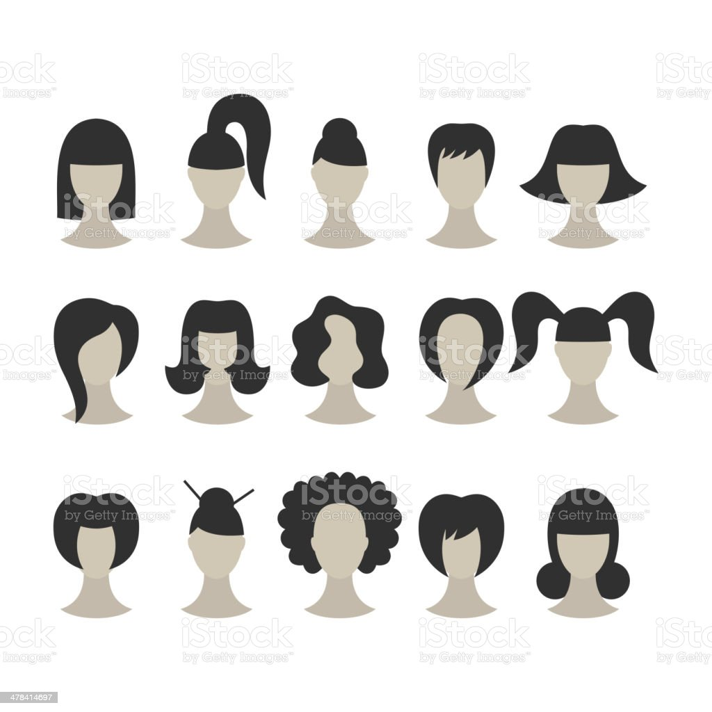 Set of black hairstyles for woman isolated on white background vector art illustration