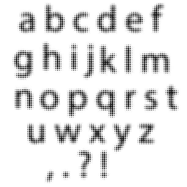 Set of Black Halftone Letters vector art illustration