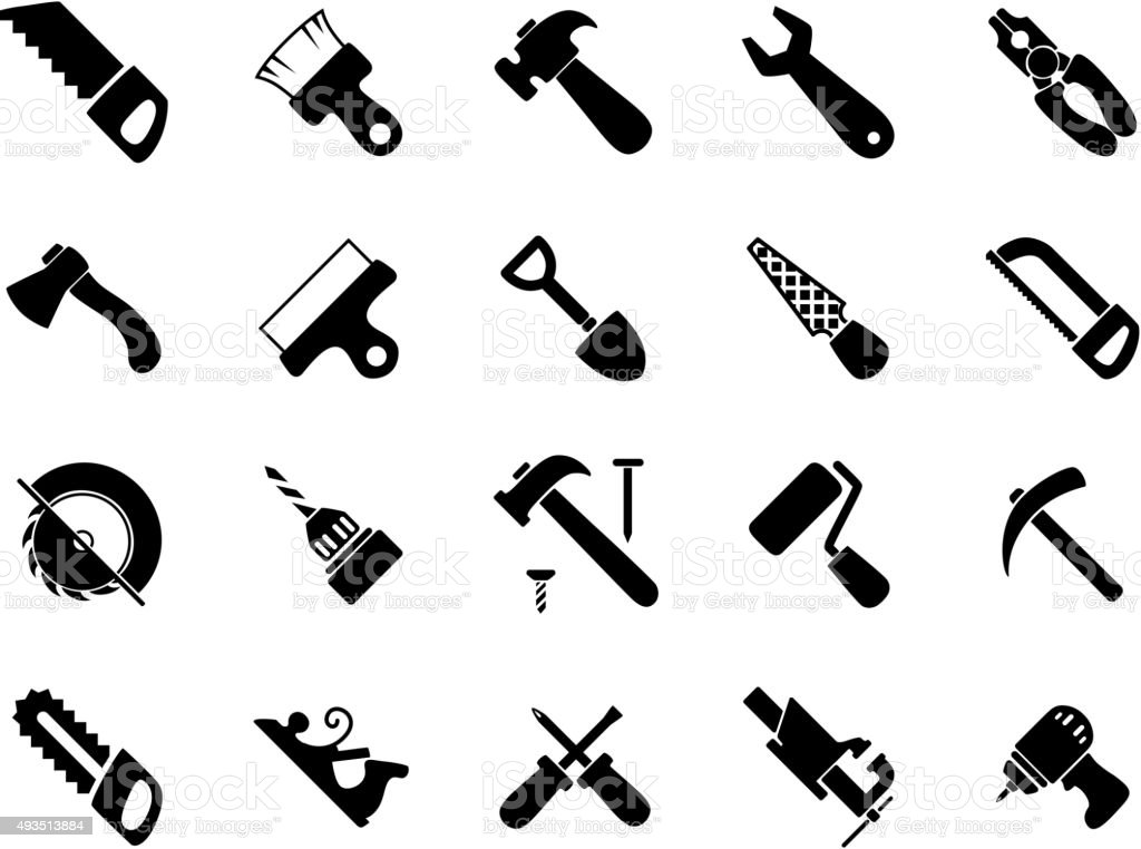 Set of black hand and power tools icons vector art illustration