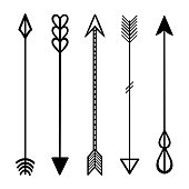 Set of black hand drawn doodles arrows. Hipster ethnic  tribal vector elements. For print, poster, greeting card